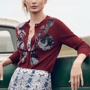 J. Crew Sequin Floral Embroidered Jackie Cardigan